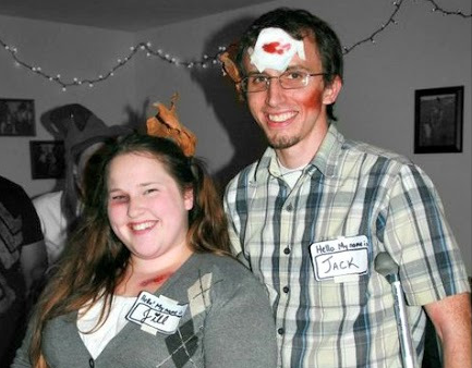 Cheap, DIY, Couple's Costume: Jack & Jill (Crutches Halloween Costume)
