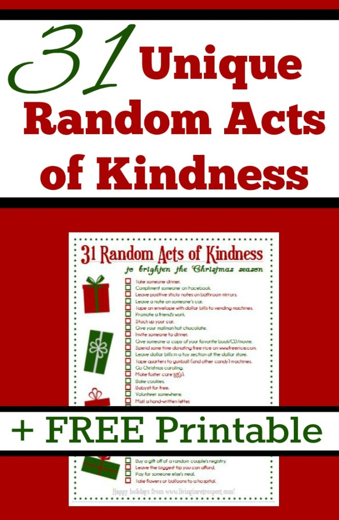 These 31 Unique Random Acts of Kindness are perfect for Christmas. Free Christmas Printable | Random Acts of Christmas Kindness | RAK | RACK | Acts of Service | Service Ideas